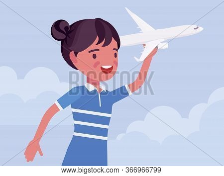 Happy Girl Playing With A Toy Airplane. Young Pilot Flying An Aircraft, Child Running Holding Aero P