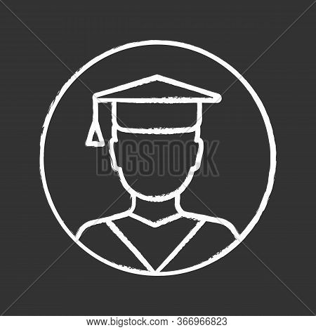 Education Chalk Icon. Graduation. Academic Degree. Person In Academic Cap. Isolated Vector Chalkboar