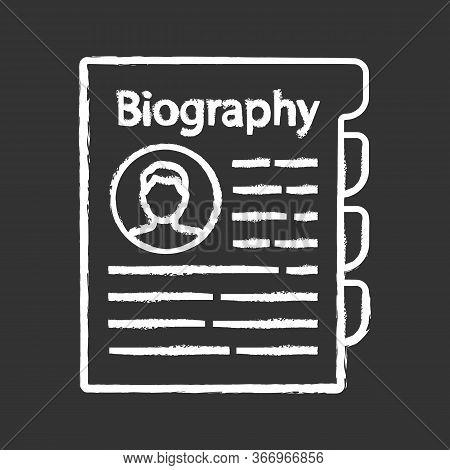 Personnel File Chalk Icon. Personal Data. Hr Document. Professional Bio. Staff Member Document. Biog
