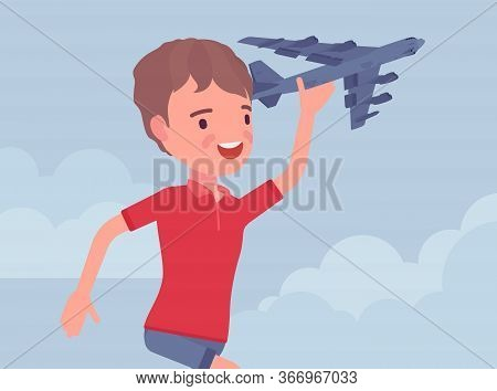 Happy Boy Playing With A Toy Airplane. Young Pilot Flying An Aircraft, Child Running Holding Aero Pl
