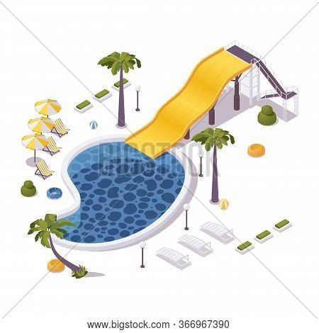Isometric 3d Concept Illustration Of Aqua Park With Pool, Loungers, Umbrellas Ans Water Slide. Tropi
