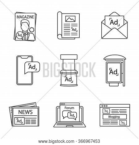 Advertising Channels Linear Icons Set. Magazine, Article, Mail Marketing, Mobile Ads, Promo Stand, B