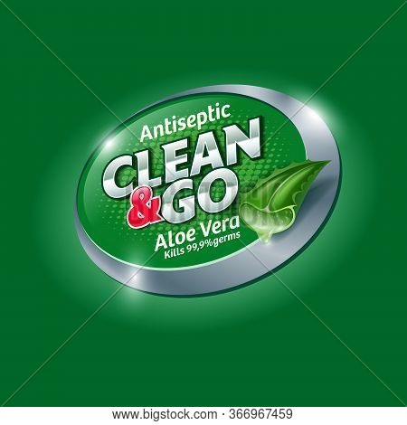 Clean And Go. Hands Antiseptic Logo And Label With Aloe Vera. Sanitizer, Antiseptic And Virus Protec