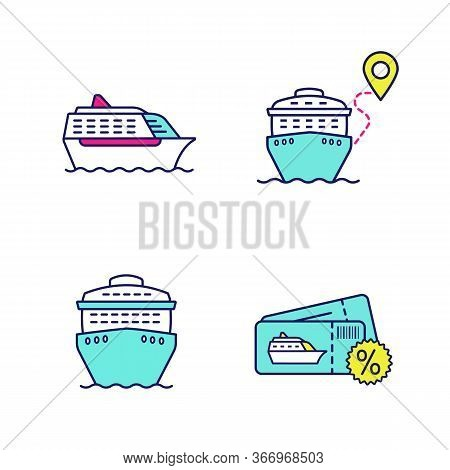 Cruise Color Icons Set. Summer Voyage. Travel Agency. Cheap Cruise Deal, Trip Route, Ships In Front