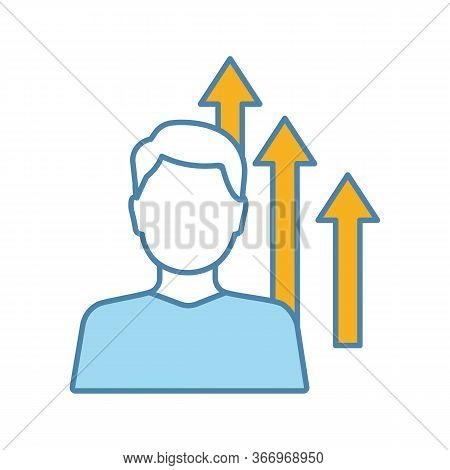 Personal Growth Color Icon. Achievements. Goal Achieving. Self Development And Improvement. Career G