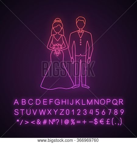 Bride And Bridegroom Neon Light Icon. Wedding Ceremony. Newlywed. Just Married Couple. Fiance, Fianc