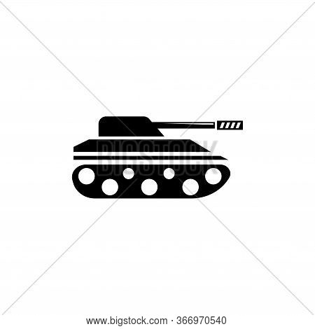 War Army Tank, Military Heavy Panzer. Flat Vector Icon Illustration. Simple Black Symbol On White Ba