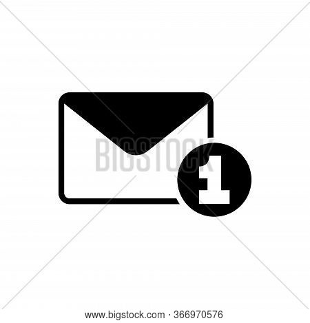 Letter With One Counter Notification, Spam, Dispatch, Delivery. Flat Vector Icon Illustration. Simpl