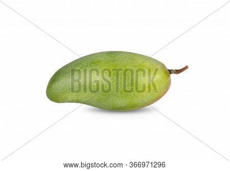 Whole Fresh Mango With Stem On White Background