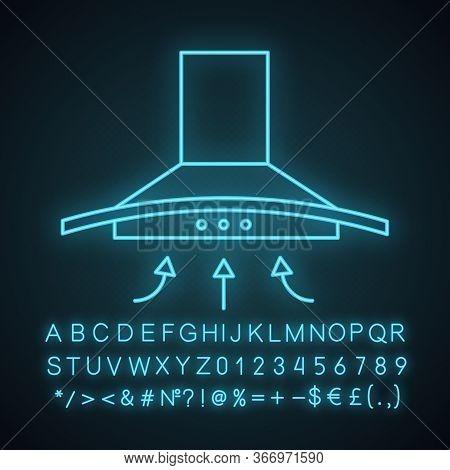 Range Hood Neon Light Icon. Kitchen Extractor Fan. Cooker Hood. Kitchen Exhaust. Household Appliance