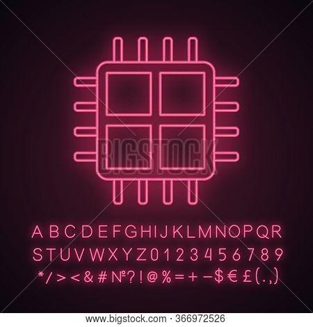 Quad Core Processor Neon Light Icon. Four Core Microprocessor. Microchip, Chipset. Cpu. Multi-core P
