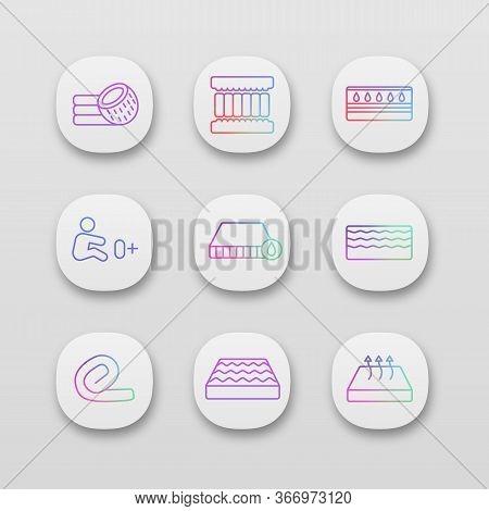 Mattress App Icons Set. Ui Ux Interface. Coconut Fiber, Memory Foam Filler, Waterproof, Orthopedic,