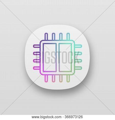 Dual Core Processor App Icon. X2 Microprocessor. Microchip, Chipset. Cpu. Central Processing Unit. C