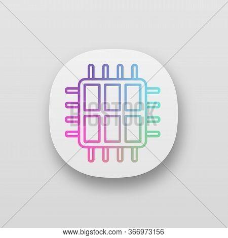 Six Core Processor App Icon. Ui Ux Interface. Hexa Microprocessor. Microchip, Chipset. Cpu. Central