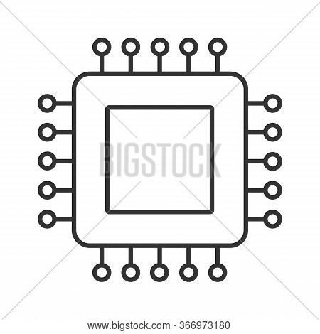 Processor Linear Icon. Microprocessor. Thin Line Illustration. Cpu. Integrated Circuit. Computer, Ph