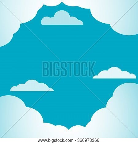 Blue Sky With White Clouds Background. Cloud Border. Stylish Creative And Business Concept For Poste