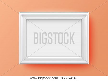 A3, A4 Horizontal Blank Picture Frame For Photographs. Vector Realistic Wooden White Picture-framing