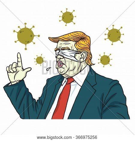 Donald Trump Speech Wearing Blind Blinded Mask Anti Coronavirus Cartoon Vector Drawing Illustration.