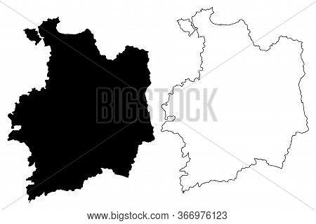 Ille-et-vilaine Department (france, French Republic, Brittany Or Bretagne Region) Map Vector Illustr