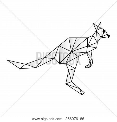 Polygonal Low Poly Illustration Of A Kangaroo, Geometrical Triangles Linear Wire Construction. Low P
