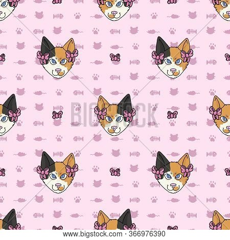 Cute Cartoon Japanese Bobtail Cat Face With Pink Bow Seamless Vector Pattern. Pedigree Kitty Breed D