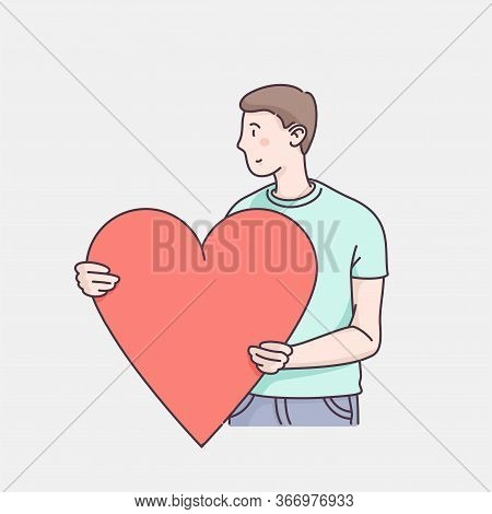 Man Character Holding Big Loving Heart. Sending Love Message To Beloved One. Hand Drawn Flat Style L