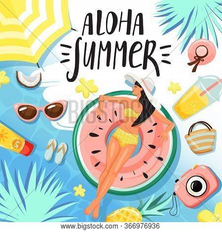 Set Of Summer Elements. Women Floating And Sunbathing On Inflatable Ring. Stylish Typography Slogan