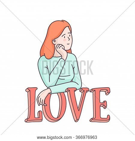 Smiling Woman Waiting For Her Beloved One Leaning On Big Letters Forming Word Love. Valentines Day C