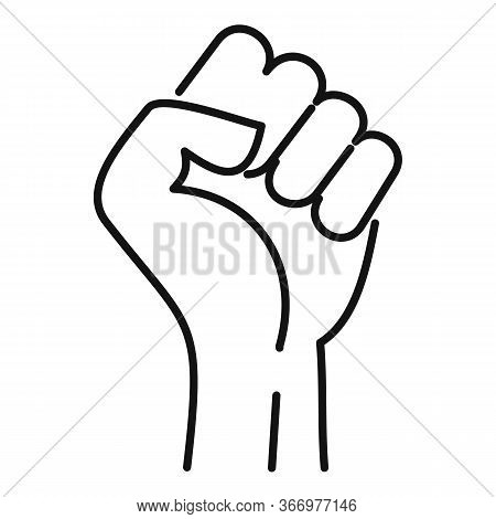 Fist Icon. Outline Fist Vector Icon For Web Design Isolated On White Background