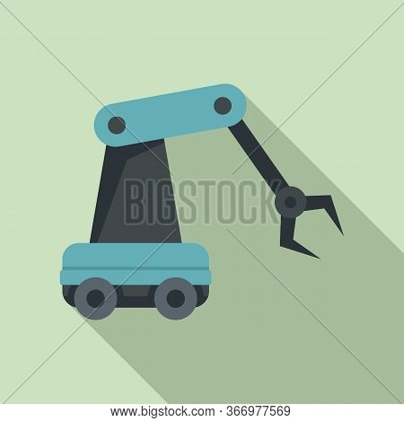 Robotic Arm Icon. Flat Illustration Of Robotic Arm Vector Icon For Web Design