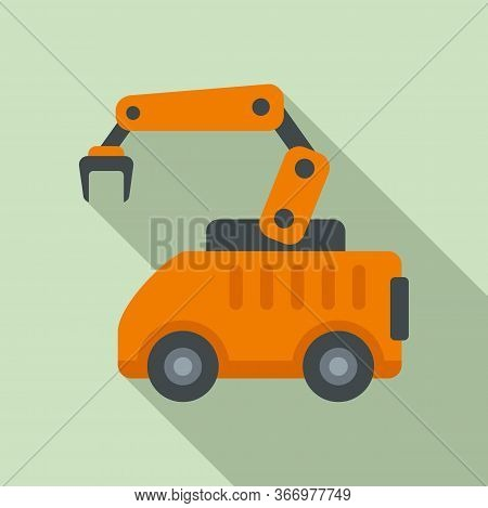 Machine Arm Robot Icon. Flat Illustration Of Machine Arm Robot Vector Icon For Web Design