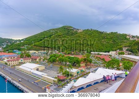 St. Thomas, Us Virgin Islands - May 16, 2016: Landscape In St. Thomas, Cruise Port At Charlotte Amal