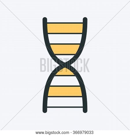 Dna Helix Icon, Dna Human Genetic Symbol Vector Sign In Flat Shape Design Isolated On White Backgrou