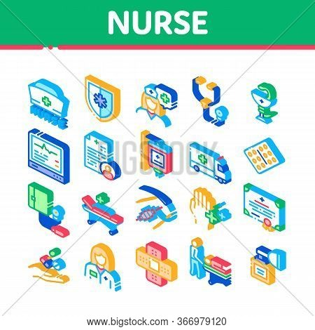 Nurse Medical Aid Collection Icons Set Vector. Nurse Hat And Stethoscope, Pulse Cardiogram And Patch