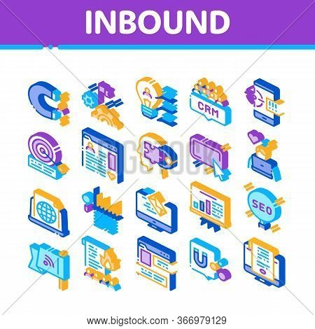 Inbound Marketing Collection Icons Set Vector. Growth Roi And Seo, Attract And Crm, Email, And Socia