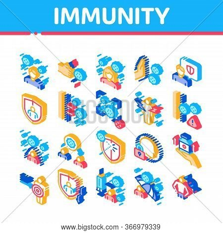 Immunity Human Biological Defense Icons Set Vector. Protective Bacterias, Syringe And Shield, Vitami