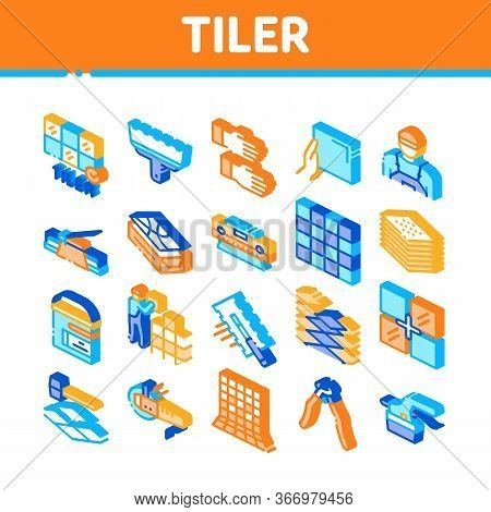 Tiler Work Equipment Collection Icons Set Vector. Tiler Rectangular Notched Trowel And Electrical Ti