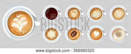Set Of Coffee Cups With Different Toppings Vector Illustration. Various Types Of Beverage Flat Style