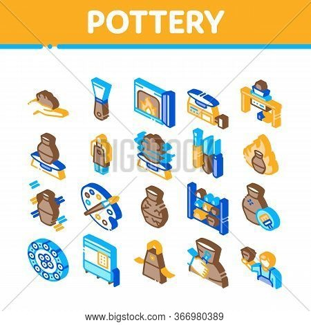 Pottery And Ceramics Collection Icons Set Vector. Pottery Equipment And Kiln, Potter And Spatula, Va