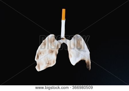 Cigarette Smoke's Lungs. The Cigarette Destroy Lungs On Black Background. Cigarette Causes Cancer An