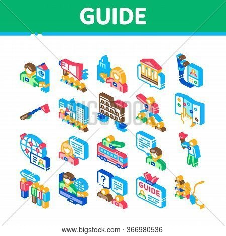 Guide Lead Traveler Collection Icons Set Vector. Bus And Media Player Guide, Badge And Loudspeaker,