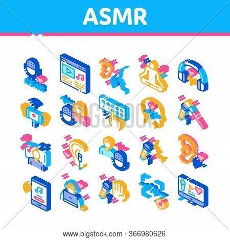 Asmr Sound Phenomenon Collection Icons Set Vector. Asmr Autonomous Sensory Meridian Response, Microp