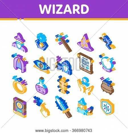 Wizard Magic Equipment Collection Icons Set Vector. Wizard Wand And Hat, Sphere And Knife, Book And