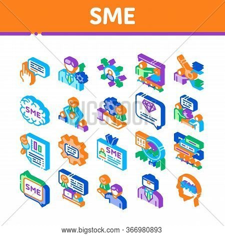 Sme Business Company Collection Icons Set Vector. Sme Small And Medium Enterprise, Communication And