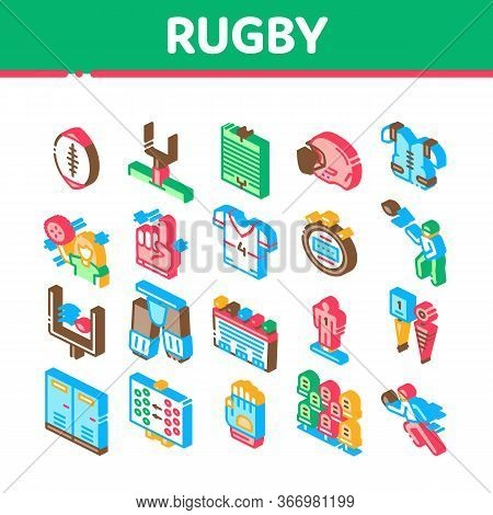 Rugby Sport Game Tool Collection Icons Set Vector Rugby Ball And Gates, Athlete Protection Equipment