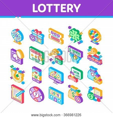 Lottery Gambling Game Collection Icons Set Vector. Human Win Lottery And Hold Check, Car Key And Mon