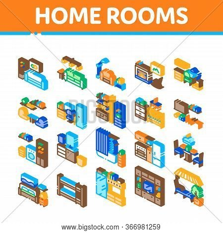 Home Rooms Furniture Collection Icons Set Vector. Sofa And Table, Lamp And Chair, Fireplace And Rock