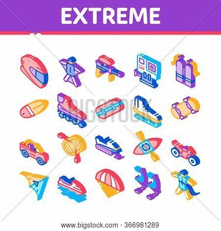 Extreme Sport Activity Collection Icons Set Vector. Bike And Crash Helmet, Parachute And Hang-glider