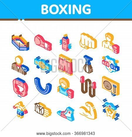 Boxing Sport Tool Collection Icons Set Vector. Boxing Glove And Shirts, Protection Helmet And Mouth