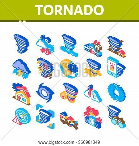 Tornado And Hurricane Collection Icons Set Vector. Tornado Blowing House Roof, Cyclone On Planet Glo